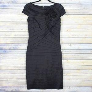 Tadashi Shoji Tiered Rosette Sheath Dress Size 8